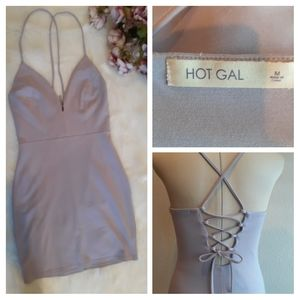 HOT GAL LAVANDER BODYCON OPEN BACK MINI DRESS D758
